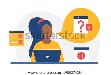 Doubt certainty concept, clarification of work information vector illustration. Cartoon woman character working with laptop, thinking with question exclamation marks in cloud bubble isolated on white Сток-фото ©