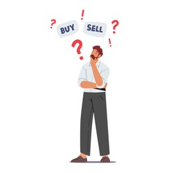 Doubtful Businessman Character Thinking Buy or Sell Currency and Bonds during Bear Stock Market Crisis Drop Sales, Trader Search Wise Financial Solution for Money Concept. Cartoon Vector Illustration