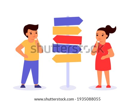Doubting children think, decide question of choice, choice of path of education and work, direction of future. Concept of self realization, education and career success. Vector flat illustration Foto stock ©