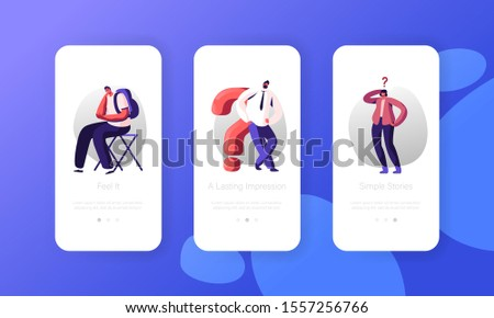 Doubts and Confusion Mobile App Page Onboard Screen Set. Thoughtful and Doubtful People Thinking with Question Mark Searching Solution Concept for Website or Web Page. Cartoon Flat Vector Illustration