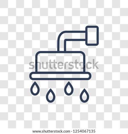 douche icon. Trendy linear douche logo concept on transparent background from Hygiene collection