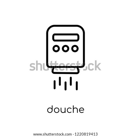 douche icon. Trendy modern flat linear vector douche icon on white background from thin line Hygiene collection, outline vector illustration
