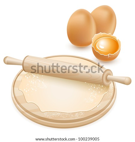Dough and rolling pin on a wooden board. Raw chicken eggs.