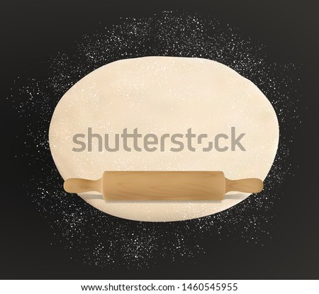 Dough, rolling pin and flour on table, rolled pastry food. Vector pizza dough kneading on black, patisserie and bakery. Homemade domestic bread and kitchen utensils, pin with handle, sprinkled flour