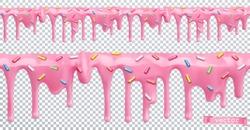 Doughnut glaze. Sweet cream. Seamless pattern. 3d realistic vector