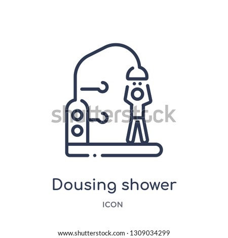 dousing shower icon from sauna outline collection. Thin line dousing shower icon isolated on white background.