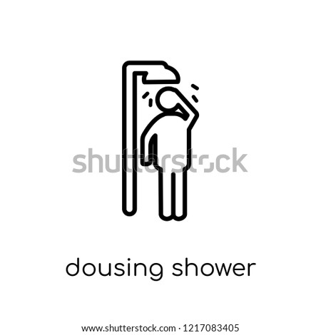 Dousing Shower icon. Trendy modern flat linear vector Dousing Shower icon on white background from thin line sauna collection, editable outline stroke vector illustration
