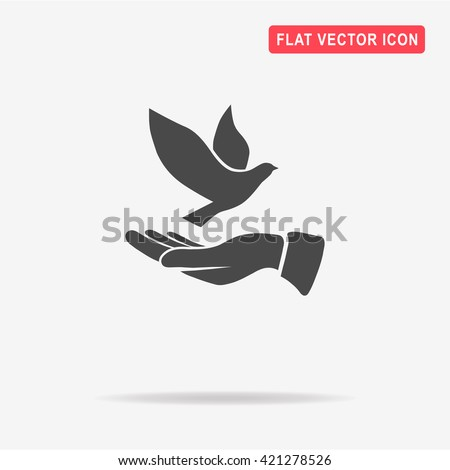 dove and hand icon vector