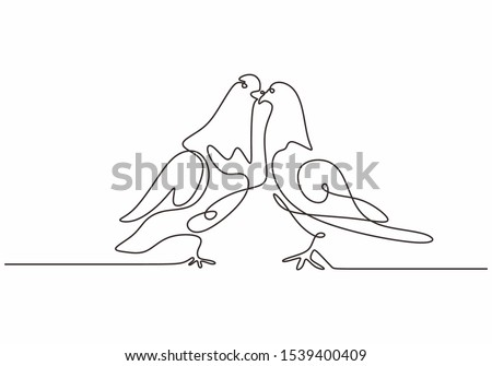 Dove birds couple continuous one line drawing minimalism animal sketch hand drawn. stock photo