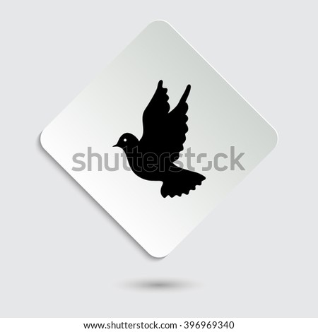 dove - black vector icon on  a paper button