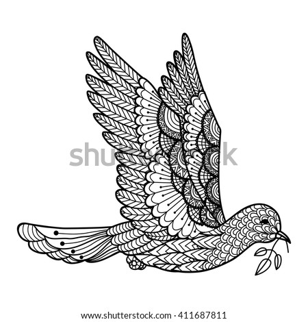 dove carrying leaves line art