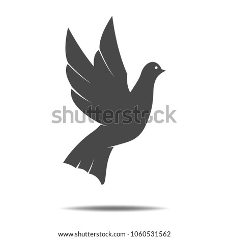 Dove flat icon on white background. Symbol of International day of peace. Symbol of peace, tolerance and trust