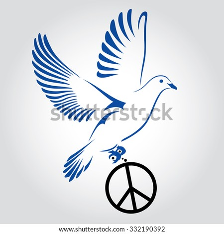 Dove Flying With A Symbol Of Peace Dove Of Peace Vector