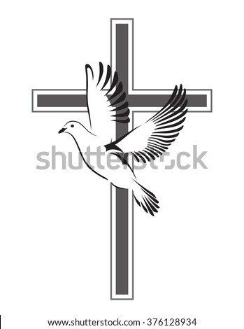 dove flying with a symbol of
