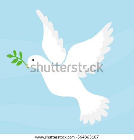 Dove of peace, dove symbol of peace, a white bird. Flat design, vector illustration, vector.