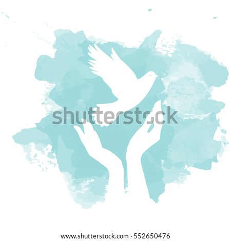 dove of peace flying from open