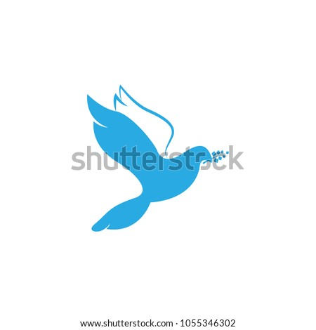 Dove Of Peace. Illustration with dove holding an olive branch symbolizing peace on earth. LIne Art dove. Line art for logo and design. Vector illustration. Peace logo.