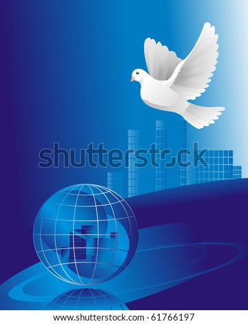 dove of peace over the crystal globe - stock vector
