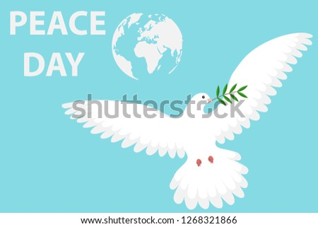 Dove of peace with olive branch on a blue background. Cartoon illustration of a white dove of peace. White dove set with peace and olive branch symbols.