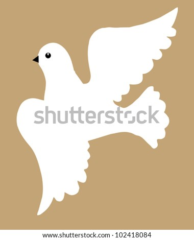 dove silhouette on brown background, vector illustration
