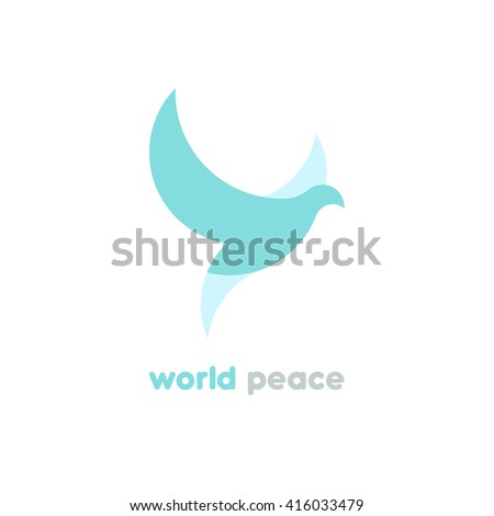 Dove vector logotype. Bird silhouette logo. World peace. Flying dove geometric logo.