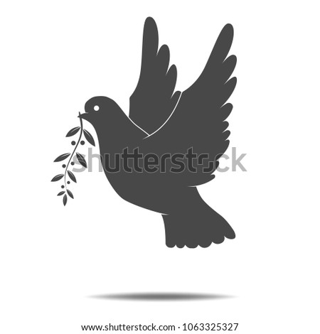 Dove with olive branch flat icon on white background. Symbol of International day of peace. Symbol of peace, tolerance and trust