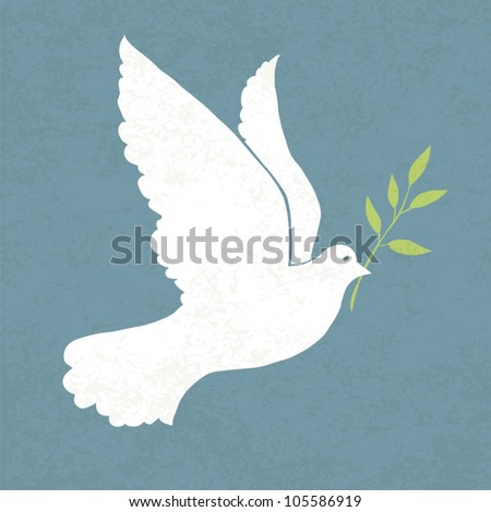 Dove with olive branch. Vector illustration, EPS 10