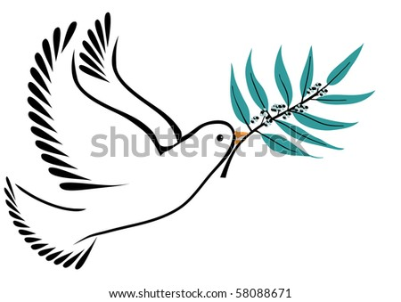 Dove with olive branch with green leaves and olives - stock vector