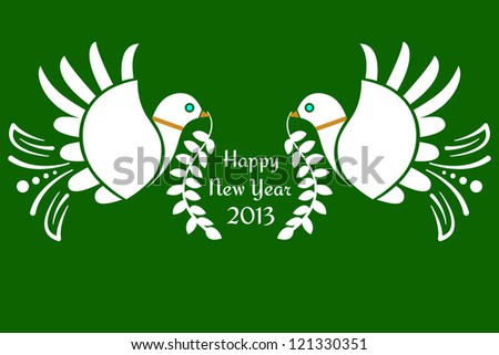 Doves of peace Happy New Year text