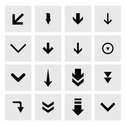 down arrow download icon set. simple pictogram minimal, flat, solid, mono, monochrome, plain, contemporary style. Vector illustration web internet design elements