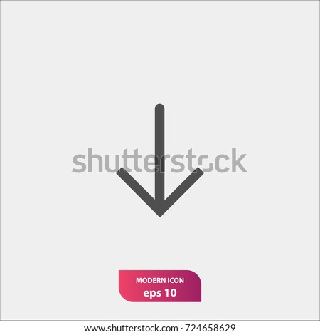 down arrow vector icon, flat symbol, simple and modern illustration sign