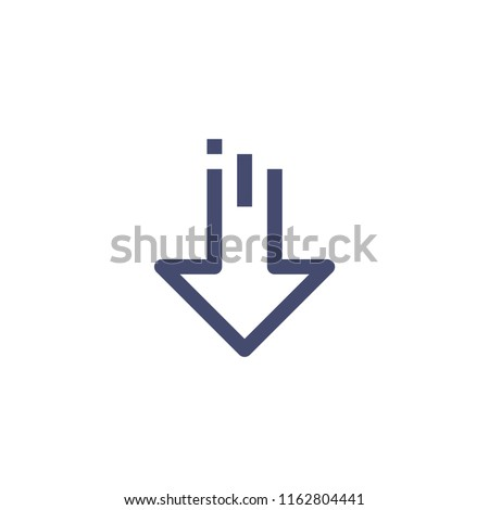Down Arrow Vector Line Icon Pixel Perfect. Editable 2 Pixel Stroke Weight. Direction Icon for Website Mobile App Presentation