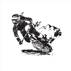down hill bicycle mountain bike vector black