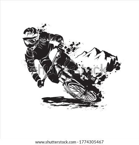 down hill bicycle mountain bike vector black Stockfoto ©
