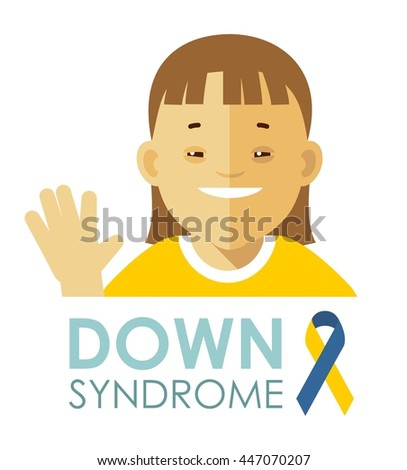 Down syndrome concept. Smiling face of disabled girl isolated on white background
