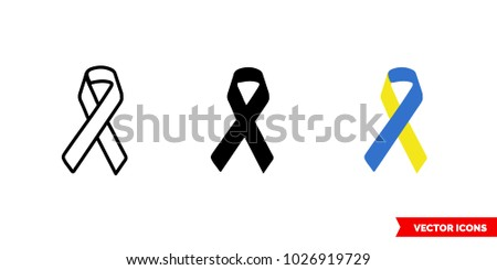 Down syndrome symbol icon of 3 types: color, black and white, outline. Isolated vector sign symbol.