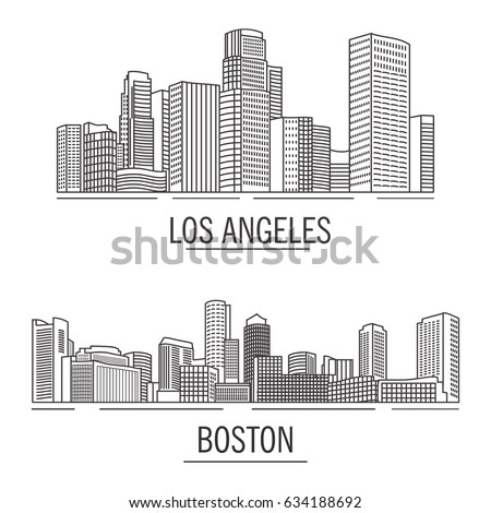 Down town urban American landscape skyscrapers and high-rise buildings in flat style a vector.hand drawn.City landscape Boston Massachusetts,Los Angeles.USA skyline and landmark line art flat vector