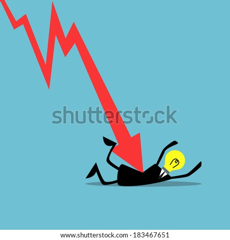 Down trend graph attacking a businessman, Business concept.