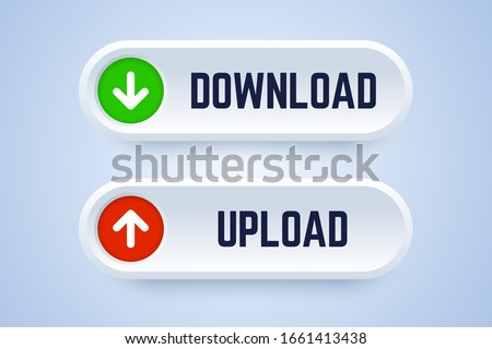 Download and upload button in 3d style with arrow symbols. Vector illustration for downloading and uploading documents.