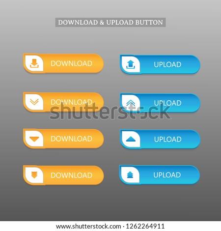 Download and Upload button set, realistic design. vector illustration