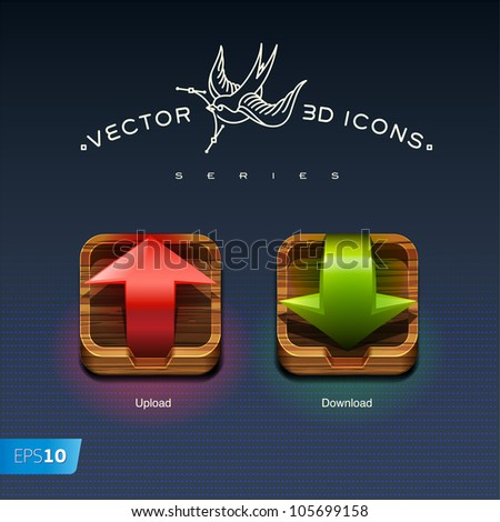 Download and Upload Buttons 3d icons, vector eps10 illustration
