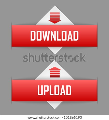 Download and upload buttons useful for web design purposes