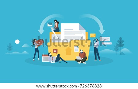 Download and upload. Flat design people and technology concept. Vector illustration for web banner, business presentation, advertising material.