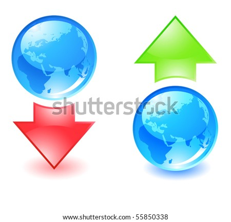 download and upload icons - stock vector