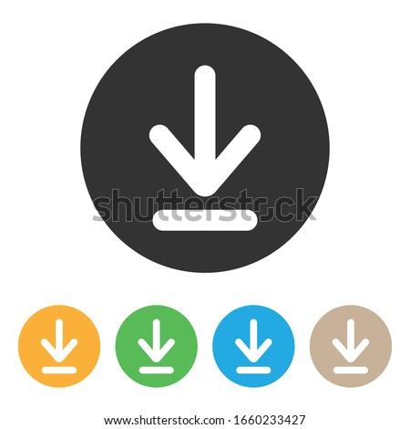 Download and Upload Multicolor Button Icon Vector Design on White Background.