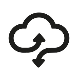 Download and upload vector icon. Flat sign for mobile concept and web design. Cloud with arrow up and down simple solid icon - vector