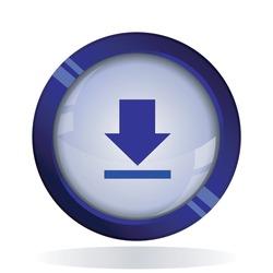 Download arrow icon. 3d round button blue vector icon for web, mobile app icon.