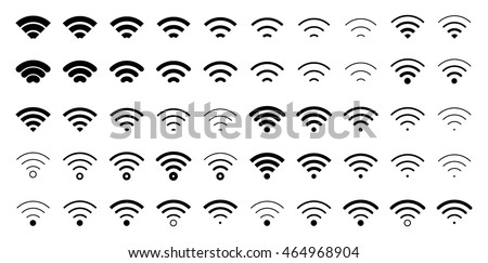 Download black wifi connect internet icons pack on white background