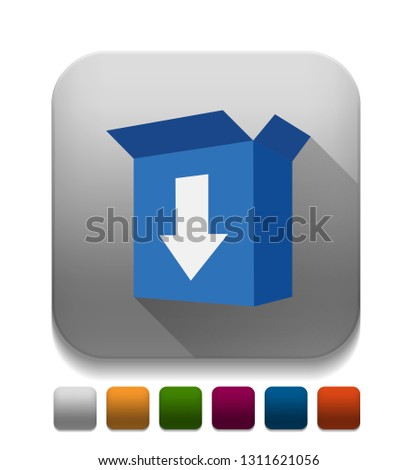 Download Box icon With long shadow over app button