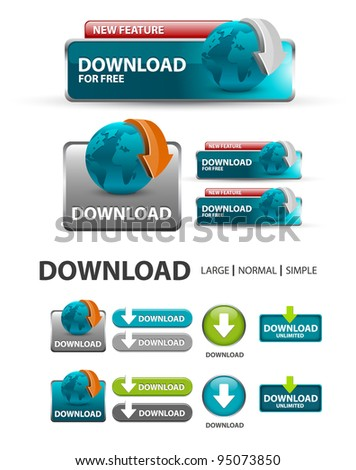 Download Button, collection of Download icons and buttons